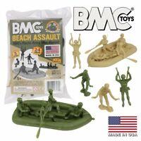 BMC Marx Plastic Army Men Beach Assault - Green vs Tan 24pc WW2 US Soldiers