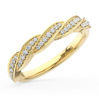 0.20CT Round Diamonds Curve Wave Half Eternity Wedding Ring in 18K Yellow Gold