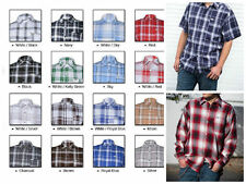 short sleeve button down checkered plaid shirts  button up Made in USA