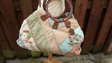 Fossil Shopper Tote afferra a tracolla Messenger Bag Patchwork Hessian in pelle Large