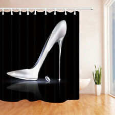 Silver high heels and diamonds Shower Curtain Bathroom Fabric & 12hooks 71*71in