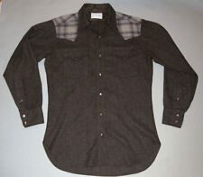 PENDLETON HIGH GRADE WESTERN WEAR WOOL SHIRT! BROWN/PLAID ACCENT! PEARL SNAPS! M