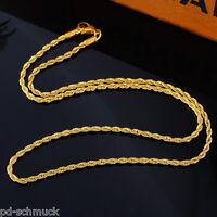 PD:1 Herren Damen Vergoldet Edelstahl Kordelkette Halskette Collier 3.7mm 56cm