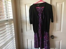 DKNY Pink /Black Paisley Dress With Sweater PS