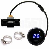 Blau Digital Motorrad Wasser Temperaturanzeige Sensor + 22mm T Schlauchverbinder