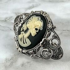 Large SKULL Cameo HAIR BARRETTE Silver Pled Clip HALLOWEEN COSTUME ACCESSORIES