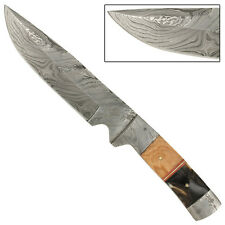 Full Tang Olive Wood Ram Horn Handle Hand Forged Damascus Steel Blade Knife