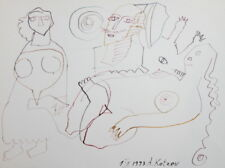 1993 Abstract figures watercolor drawing signed