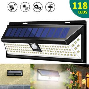 118LED Solar Powered PIR Motion Sensor Wall Lights Outdoor Garden Security Lamp