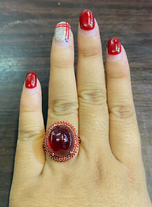 NATURAL RUBY CABOCHON 16X14 SAPPHIRE DIAMOND CUT STERLING SILVER 925 RING