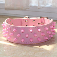 NEW Pink Spiked Studded Leather Dog Collar Pitbull Bully Terrier Size S M L XL