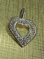 Vintage Sterling Silver 925 Filigree Open Heart Beautiful Necklace Pendant