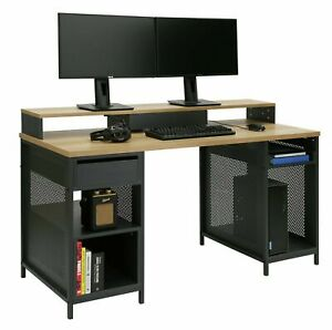 Home Modular 1 Drawer Gaming Desk - Oak Effect & Black