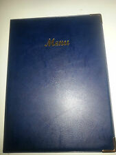 QTY 20 A4 MENU COVER/FOLDER IN BLUE LEATHER LOOK PVC-CLASSIC LOOK+GUILT CORNERS