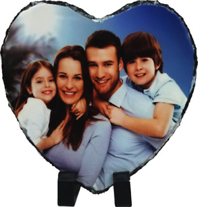 Personalised Custom Picture Heart Rock Slate Any Photo Image Text Stand Gift