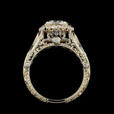 Engagement Ring 14K Yellow Gold Over 2Ct Round Cut Diamond Vintage Filigree