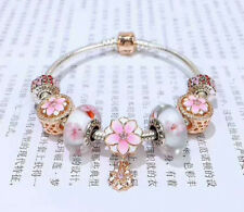 STERLING SILVER BRACELET WITH Beads & CHARM Pink Lotus Love Romance - pandora