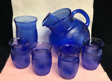 Vintage Cobalt Blue Glass Tilted Ribbed Ice Lip Pitcher With 4 Glass (Ss)