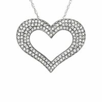 1/2 ct Diamond Heart Pendant in 14K White Gold