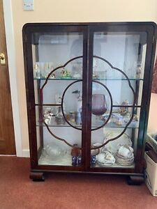 Vintage Mid Century Art Deco Beautiful Glass Fronted Display Cabinet in Walnut