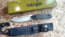 """Survivor Fixed Blade Full Tang 8"""" knife with Gut Hook Nylon Fiver Rubber Handle"""