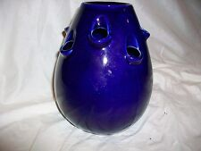 Marja Van Meeren Delft Flower Frog Vase  9 Nine Holes Cobalt Blue