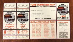 Very Rare 1985 USFL Jacksonville Bulls Uncut Sheet 2 Unused Tickets Schedule etc