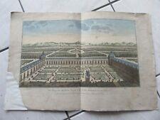 GRAVURE 18ème siècle VUE D'OPTIQUE JARDIN PALAIS ROYAL ESPAGNE BUEN RETIRO