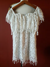 STONE COLD FOX WHITE LACE OFF THE SHOULDER DRESS SIZE XS/S