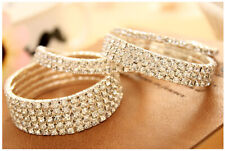 Rhinestone Stud Bracelet Elastic Bangle Rose Gold Diamante Crystal Wristband AU