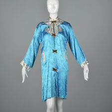 Large Blue Asian Style Robe 1980s Satin Costume Theatre Vtg Long Sleeve Pockets