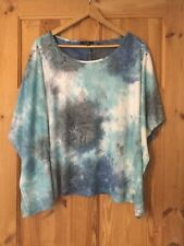 Yest Suede Feel Blue Loose Fitting Top Size Large