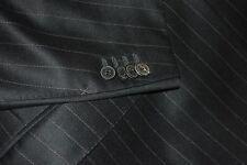 $5695 Ermenegildo Zegna Couture Black Stripe Suit 40R 34W Wool Italy