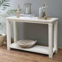 Antique White Finish Coastal Cottage Country Farmhouse Sofa Table Console Shelf