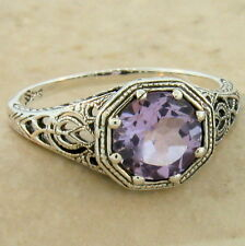 GENUINE BRAZILIAN AMETHYST 925 STERLING SILVER ART DECO RING SIZE 8,        #877