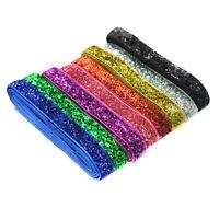"DIY 8yds 3/8""10mm Sparkle Glitter Velvet Ribbon Headband Bows Mixed Color"