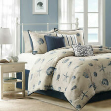 Madison Park Bayside 7 pc Comforter Set Ocean Seashells   Sz Queen