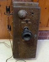Antique WESTERN ELECTRIC - HAND CRANK Oak Wall Telephone