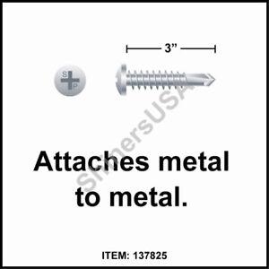 (1000) Self Drilling Zinc Screw 10-16x3 TEK 3 Phillips Pan Head 137825