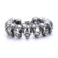 Men's 316L Stainless Steel Bracelet Biker Skull Chain Bangle Punk Silver Link