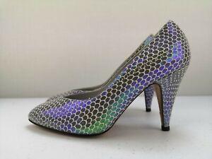 RENATA Designer Ladies Women Silver Court High Heel Shoe Leather Size 2.5 34.5