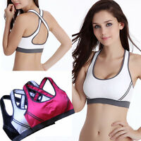 Women's Padded Bra Racerback Top Athletic Stretch Vest Fitness Sports Yoga Gym J