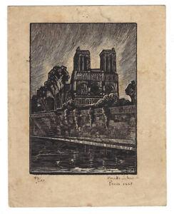 1928 NOTRE DAME CATHEDRAL Paris FRANCE Vtg WOODCUT Print 49/100 Brooks Johnson