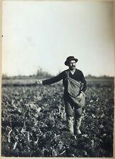 PHOTO VINTAGE 1890 : REGIONALISME TYPE PAYSAN SEMEUR CHAMPS argentique
