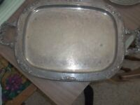 """Lovely Vintage Silverplated Serving Tray CROSBY 23 x 14"""" Handled"""