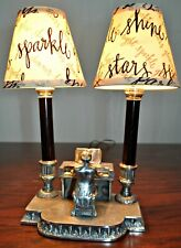 New listing Beethoven Playing Piano Twin Table Lamp Pewter & Calligraphic Print Shades