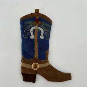 Western Cowboy Boot Christmas Stocking Blue Denium Brown Rustic Home Decor