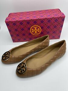 Tory Burch Benton 2 Quilted Ballet Flat in Royal Tan/Gold 206 NIB Choose size