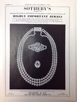 Sotheby's, Highly Important Jewels, London, 1960 Vintage Advert, Pearls Necklace