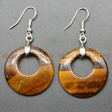 Round Ring Dangle Silver Hook Earrings Natural Yellow Tiger's Eye 28mm Hollow